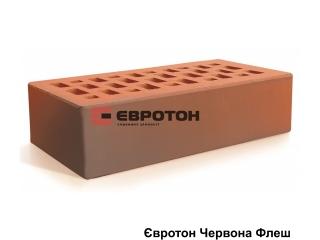 Картинка Кирпич лицевой клинкерный Красный Флеш производство Евротон