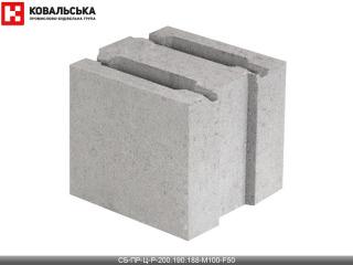 Картинка Блок бетонный стеновой CБ-ПР-Ц-Р-200.190.188-М100-F50