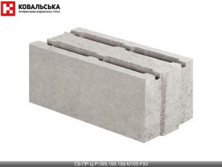 Картинка Блок бетонный стеновой CБ-ПР-Ц-Р-390.190.188-М100-F50