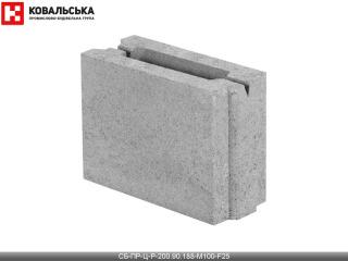 Картинка Блок бетонный перегородочный CБ-ПР-Ц-Р-200.90.188-М100-F25
