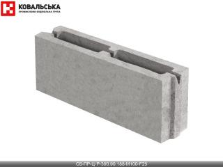 Картинка Блок бетонный перегородочный CБ-ПР-Ц-Р-390.90.188-М100-F25