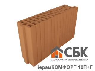 Картинка Блок керамический поризованый Керамкомфорт 10 П+Г Производство СБК