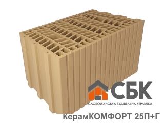 Картинка Блок керамический поризованый Керамкомфорт 25 П+Г Производство СБК