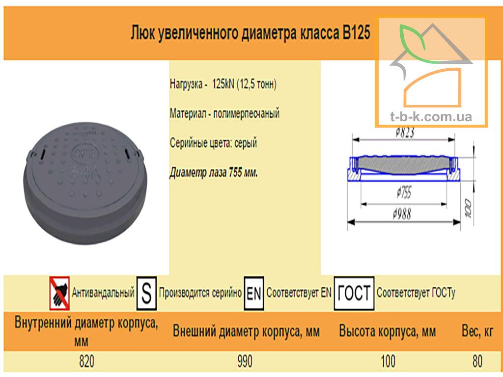 Люк полимерпесчаный средний - Фото 1