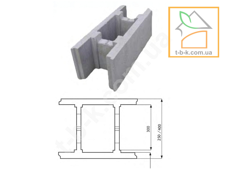 Блок МАЛЫЙ бетонный несъемной опалубки ТБС 500*250*190 - Фото 1